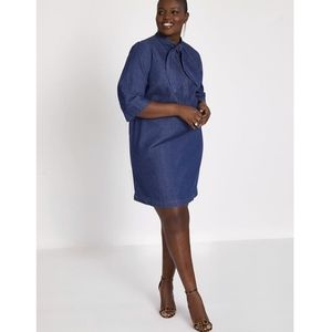 Eloquii tie neck denim dress - size 14